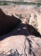 Rock Climbing Photo: Looking down from anchor 4 (probably shouldn't hav...