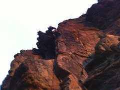 "Rock Climbing Photo: Kristina finishing up a lead of ""Farewell To ..."