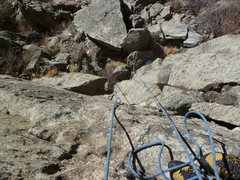 Rock Climbing Photo: Looking down from the 4th bolt.