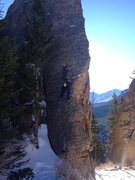 "Rock Climbing Photo: Jordan thinking, ""Maybe...if I can just reach..."