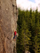 "Rock Climbing Photo: Mike Dobie leading ""Outsourced"" 12a phot..."