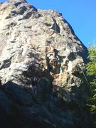 "Rock Climbing Photo: Jack just past the pumpy initial slots of ""Xi..."