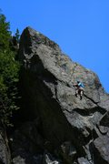 """Rock Climbing Photo: Me climbing the top section of """"Purdy Mouth&q..."""