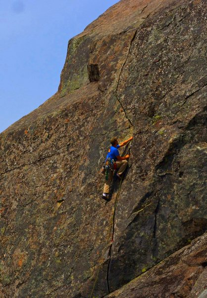 "Thad climbing the classic ""Wisecrack"""