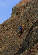 "Rock Climbing Photo: Thad climbing the classic ""Wisecrack"""