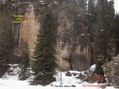 Rock Climbing Photo: The slightly south-east facing routes of the left ...