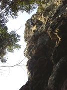 "Rock Climbing Photo: Rad Roberts on the top crux of ""Fly Fighter&q..."