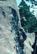 Rock Climbing Photo: Rodger finishing Tree Slab.
