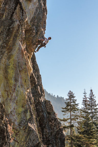 John Scott pulling the arete on Psyche Ward .12c. The Cove, Bowman Valley, CA.