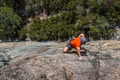 """Rock Climbing Photo: Mike Carville, """"Flying The Coop"""" .10b"""