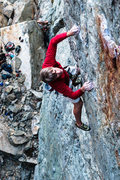 Rock Climbing Photo: Mike Carville cruxing on Macho Man .12d=. Emeralds...