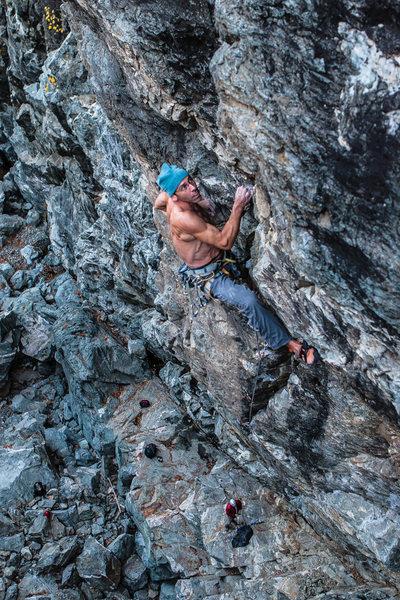 Rock Climbing Photo: Ian Texeira working the mega steep Grail Project ....