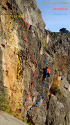 Rock Climbing Photo: Climber on Who Me? Banshee follows the crack just ...