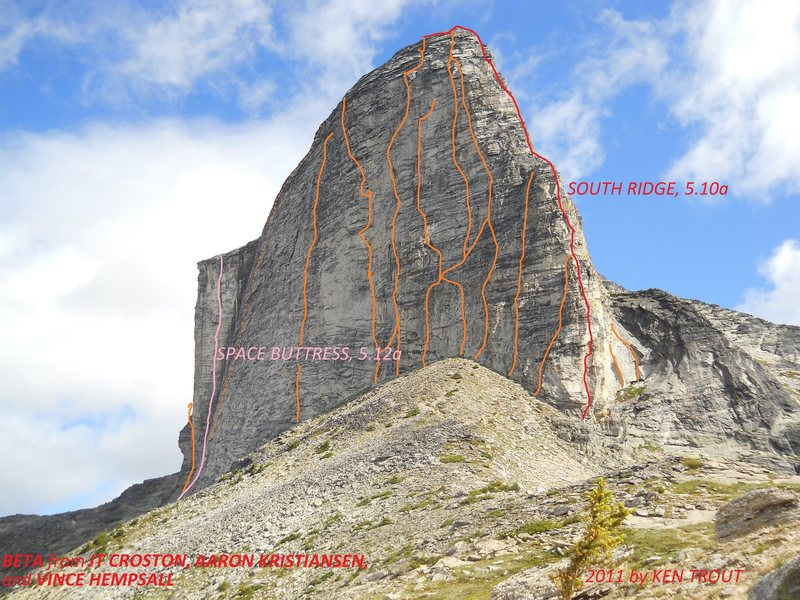 MOUNT GIMLI-WEST FACE<br> All known routes marked approximately.