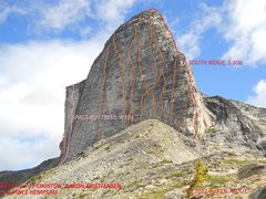 Rock Climbing Photo: MOUNT GIMLI-WEST FACE All known routes marked appr...