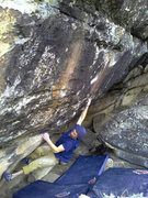 Rock Climbing Photo: Keenan pulling through the crux on Surgical Proced...