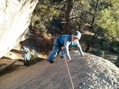 Rock Climbing Photo: Wyatt climbing on the small nubbins near the top o...