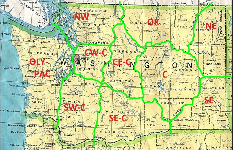 Sections of Washington:<br> ----------------------- <br> OLY/PAC = OLYMPIC/PACIFIC<br> NW = NORTH-WESTERN <br> CWC = CENTRAL-WESTERN CASCADES <br> SWC = SOUTH-WESTERN CASCADES <br> SEC = SOUTH-EASTERN CASCADES <br> CEC = CENTRAL-EASTERN CASCADES <br> OK = OKANOGAN <br> C = CENTRAL <br> SE = SOUTH-EASTERN <br> NE = NORTH-EASTERN