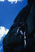 Rock Climbing Photo: Bob Culp, using some aid low on the route. Now fre...