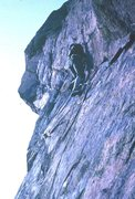 Rock Climbing Photo: At the upper crux, a step onto the bulging and ste...