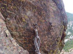 Rock Climbing Photo: New anchors for the Chockstone Chimney rap. 1/2&qu...