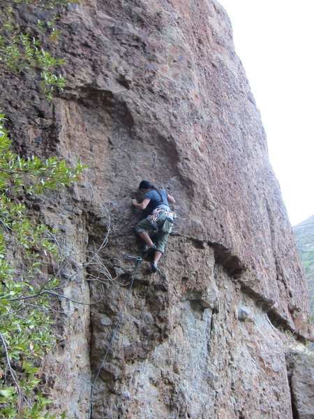 Here is Jenny Le cruising the crux of Imaginarium.