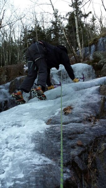 Rock Climbing Photo: On the low angled ice