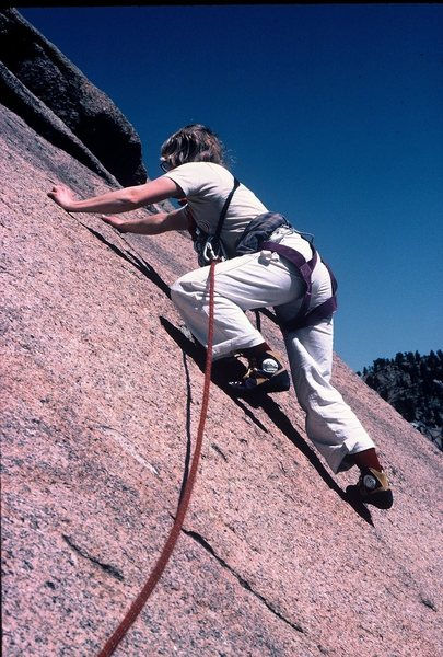 Anne on a 1983 ascent of Bishop Jaggers, South Platte.