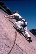 Rock Climbing Photo: Anne on a 1983 ascent of Bishop Jaggers, South Pla...