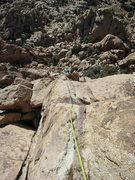 Rock Climbing Photo: Rick coming up Cross-Roads Finish