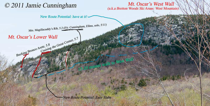 "Overview photo of Mt. Oscar. Showing the right side of the main Mt. Oscar cliff in relationship to the ""West Wall*"" of Mt. Oscar. [* which is actually East of the ""Lower Wall"". Name comes from ski area's ""West Mt.""]"