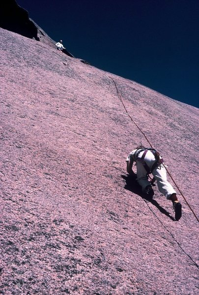 Rock Climbing Photo: Moving steadily up the 5.9 second pitch of Bishop ...