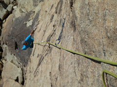 Rock Climbing Photo: Rick coming up P1 of Love Gas.