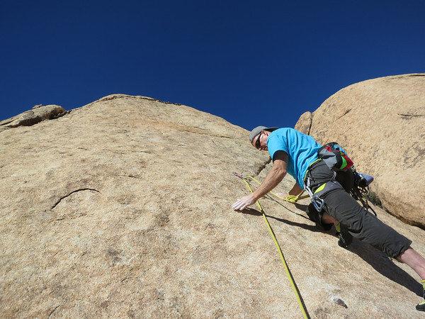 Rock Climbing Photo: Rick starting P2 of Love Gas.