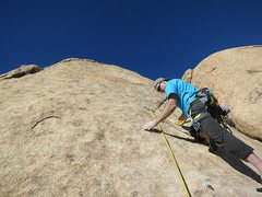 Rock Climbing Photo: Rick starting P2 of Love Gas.