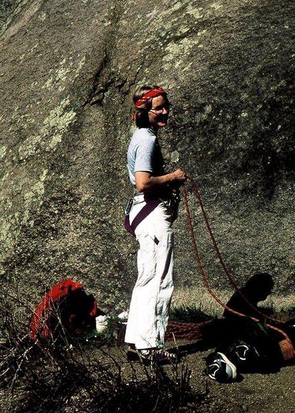 Waiting to climb, South Platte, 1984.