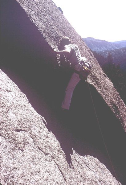 Rock Climbing Photo: Difficult lower move (5.10a) on Topographical Ocea...