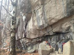 Rock Climbing Photo: A shot after nailing up to the double bolt anchors...