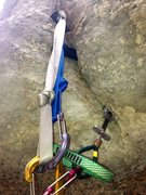 Rock Climbing Photo: Gear on the lower crux off the ground @ BallHog A3...