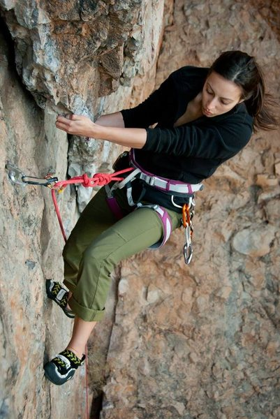 Rock Climbing Photo: Here is Brooke looking for the footholds.