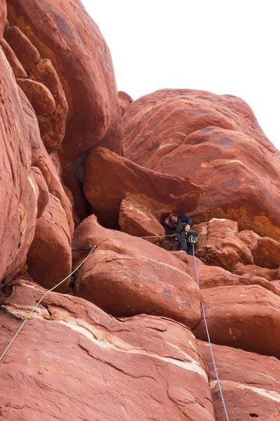 Rock Climbing Photo: Stu, contemplating his next move, p2