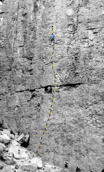 Heart of the Sun (5.9), Great Wall of China, Owens River Gorge. A climber can also be seen on the route immediately to the left (Child of Light, 5.9).