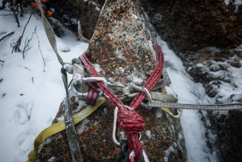 Top out horn anchor on the 5.5 mixed variation. Solid belay stance.