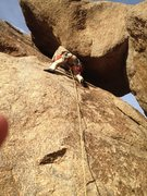 Rock Climbing Photo: Moving out from under the chockstone. Awkward?