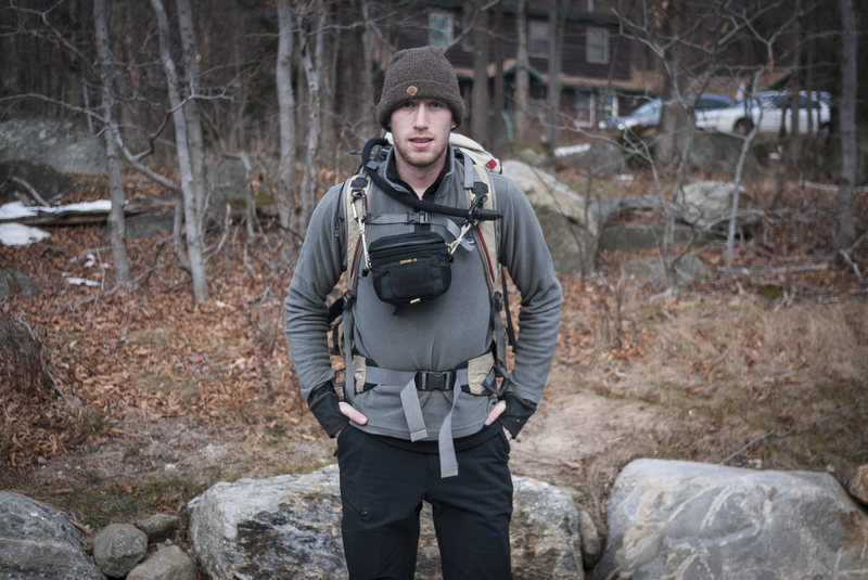 Gearing up for Pinnacle Gully (WI3), Huntington Ravine, Mount Washington, New Hampshire.