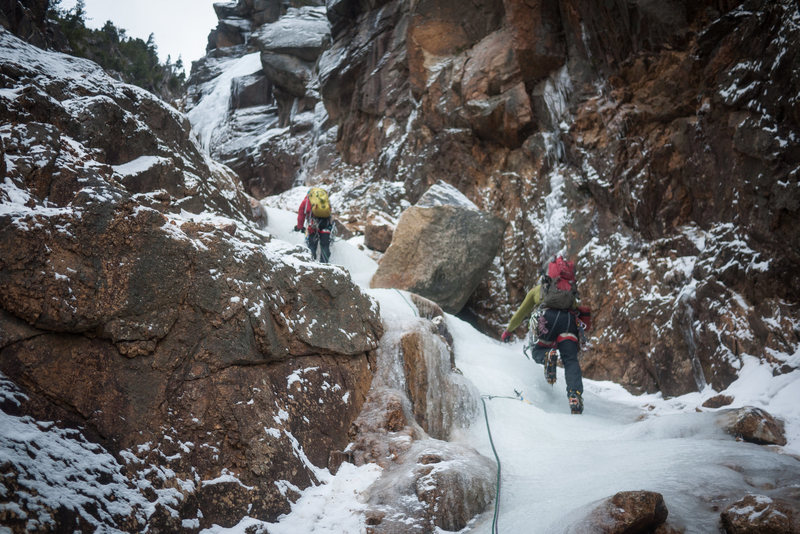 Rock Climbing Photo: Third pitch on Shoestring Gully, Mt. Webster (WI2)...