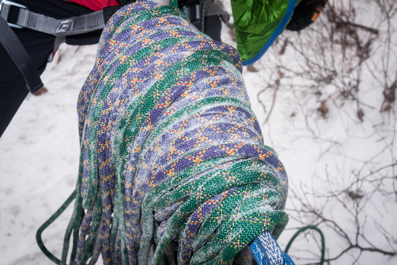 Frozen ropes on Shoestring Gully, Mt. Webster (WI2).