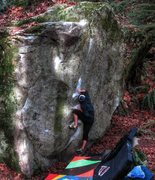 Rock Climbing Photo: J. Wood working into the side pull on Leggo My Ego...