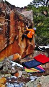 Rock Climbing Photo: Eyeing the right hand crimp on Wow Signal.