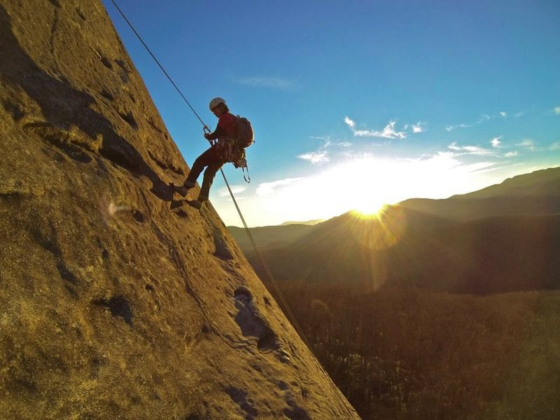 Rock Climbing Photo: Me rapping off The Nose at Looking Glass, NC